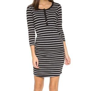 Sundry 3/4 Sleeve Henley Dress Black Striped